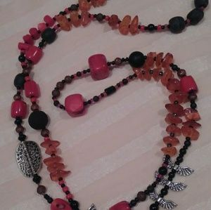 """NWT! 43"""" amber, pewter & coral necklace"""